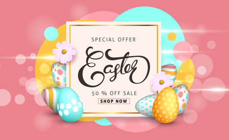 Illustration pour Easter sale banner background template with beautiful colorful spring flowers and eggs. Vector illustration. - image libre de droit