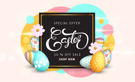 Foto de Easter sale banner background template with beautiful colorful spring flowers and eggs. Vector illustration. - Imagen libre de derechos