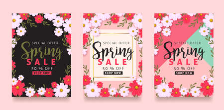 Illustration pour Spring sale background poster with beautiful colorful flower. Vector illustration. - image libre de droit