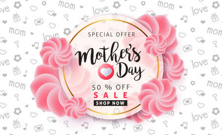 Illustration pour Mothers day sale pattern poster banner with beautiful colorful flower. Vector illustration. - image libre de droit