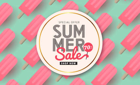 Illustration for Summer sale pattern layout for banners,Wallpaper,flyers, invitation, posters, brochure, voucher discount.Vector illustration template. - Royalty Free Image