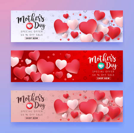 Illustration pour Mothers day sale background layout with Heart Shaped Balloons for banners,Wallpaper,flyers, invitation, posters, brochure, voucher discount.Vector illustration template. - image libre de droit