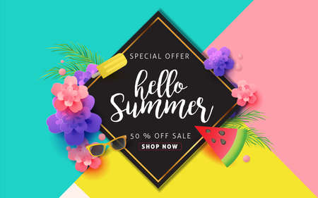 Illustration pour Summer sale background layout for banners,Wallpaper,flyers, invitation, posters, brochure, voucher discount.Vector illustration template. - image libre de droit