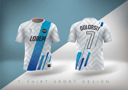 Illustration for Soccer t-shirt design slim-fitting with round neck. - Royalty Free Image
