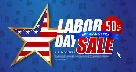 Illustration pour Labor day sale promotion advertising banner template decor with American flag .American labor day wallpaper.voucher discount.Vector illustration . - image libre de droit