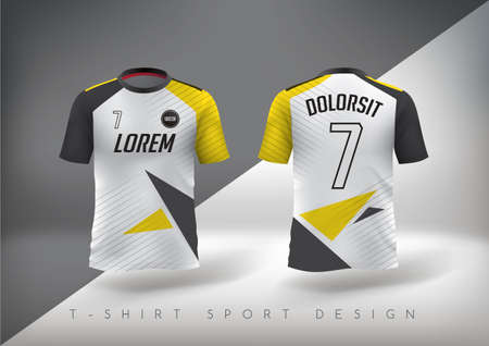 Illustration pour Soccer t-shirt design slim-fitting with round neck. Vector illustration - image libre de droit