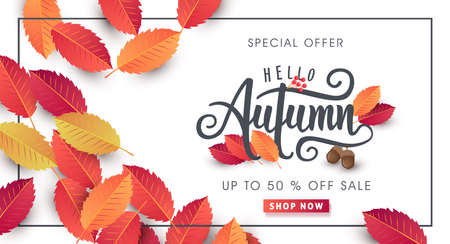 Illustration for Autumn calligraphy, Seasonal lettering. - Royalty Free Image