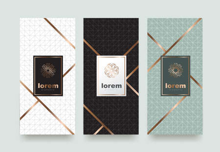Ilustración de Vector set packaging templates with different texture for luxury products.logo design with trendy linear style.vector illustration - Imagen libre de derechos