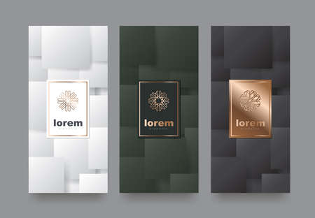 Illustration for Vector set packaging templates with different texture for luxury products.logo design with trendy linear style.vector illustration - Royalty Free Image