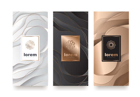 Ilustración de Vector set packaging templates with different texture for luxury products.logo design with trendy linear style.vector illustration - Imagen libre de derechos