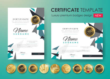 Illustration for Certificate template with modern pattern, diploma. Vector illustration and vector Luxury premium badges design. Set of retro vintage badges and labels. - Royalty Free Image