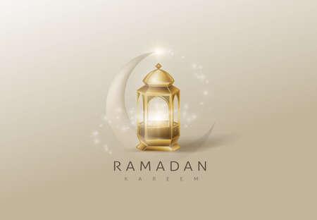 Illustration for Ramadan Kareem premium glowing gold arabic lamp design card background . Vector illustration. - Royalty Free Image
