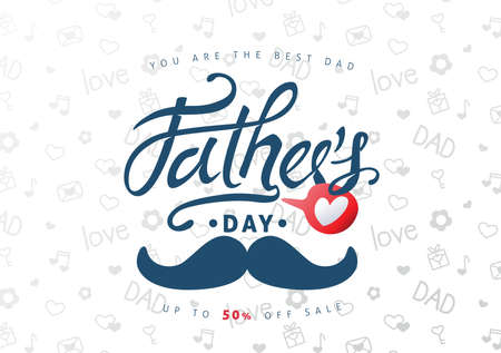 Illustration pour Happy Fathers Day Calligraphy greeting card and sale poster background. Vector illustration. - image libre de droit