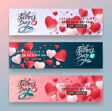 Illustration for Happy Fathers Day Calligraphy greeting card and sale poster background. Vector illustration. - Royalty Free Image