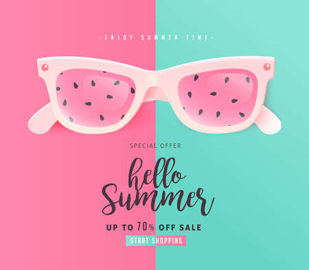Illustration pour Summer sale bright Color background layout banners .Watermelon sunglasses concept.voucher discount.Vector illustration template. - image libre de droit
