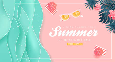 Illustration pour Summer sale design with paper cut tropical beach bright Color background layout banners .Orange sunglasses concept.voucher discount.Vector illustration template. - image libre de droit