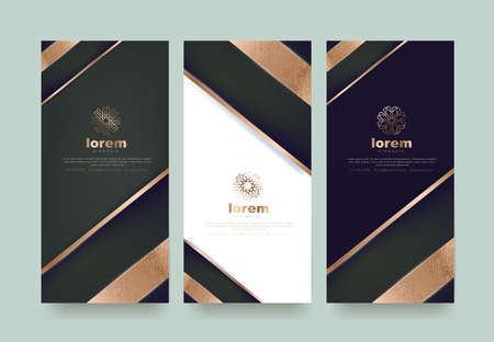 Ilustración de Vector set packaging templates  luxury or premium products.logo design with trendy linear style.voucher discount flyer brochure.book cover vector illustration.greeting card background. - Imagen libre de derechos