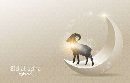Illustration pour Eid Al Adha Mubarak the celebration of Muslim community festival background design with sheep and moon.Vector Illustration - image libre de droit