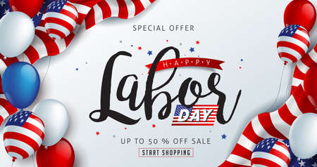 Illustration pour Labor day sale promotion advertising banner template decor with American flag balloons decor .American labor day wallpaper.voucher discount.Vector illustration . - image libre de droit
