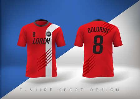 Illustration pour Soccer t-shirt design slim-fitting with round neck. Vector illustration - image libre de droit