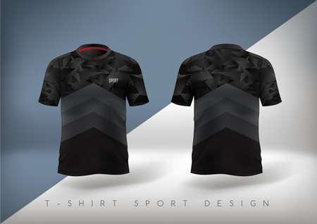 Illustration pour Soccer sport t-shirt design slim-fitting black with round neck. Vector illustration. - image libre de droit