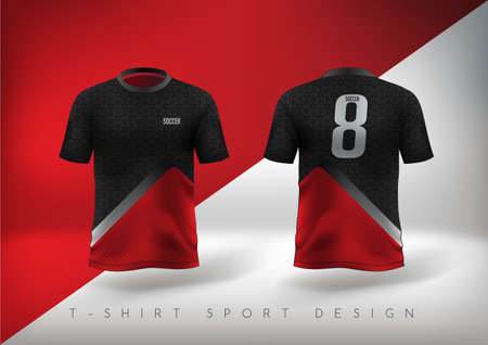 Ilustración de Soccer sport t-shirt design slim-fitting red and black with round neck. Vector illustration. - Imagen libre de derechos
