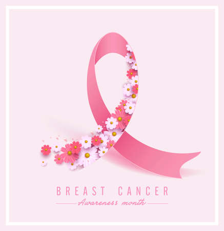 Illustration pour Breast cancer awareness pink ribbon and spring poster background,vector illustration - image libre de droit