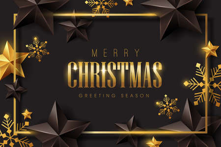 Illustration for Vector merry Christmas and happy New Year background design with Snowflakes and stars decoration.Luxury greeting card.Winter vector illustration template. - Royalty Free Image