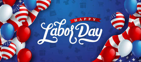 Illustration pour Happy labor day hand lettering  background banner template decor with balloon flag of america .Vector illustration . - image libre de droit