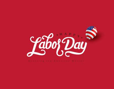 Illustration pour Happy labor day hand lettering  background banner template.Vector illustration . - image libre de droit