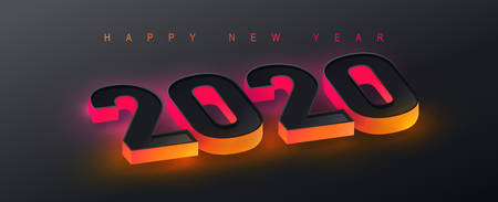 Ilustración de 2020 Happy New Year background. 2020 Number neon effect Text Design. Vector holiday illustration. - Imagen libre de derechos