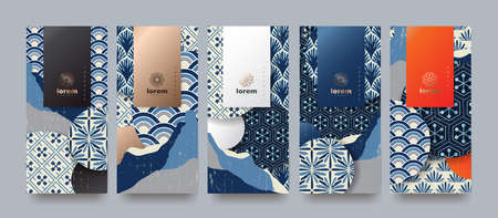 Ilustración de Vector set packaging templates japanese of nature luxury or premium products. logo design with trendy linear style. voucher, flyer, brochure. Menu book cover japan style vector illustration. - Imagen libre de derechos