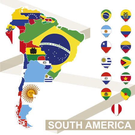 Illustration pour South America map with flags, South America map colored in with their flag. Vector Illustration. - image libre de droit