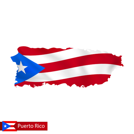 Illustration pour Puerto Rico map with waving flag of country. Vector illustration. - image libre de droit
