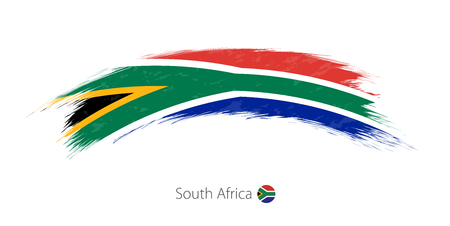 Ilustración de Flag of South Africa in rounded grunge brush stroke - Imagen libre de derechos