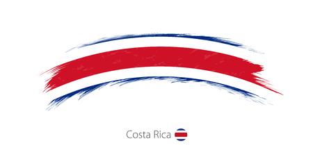 Illustration pour Flag of Costa Rica in rounded grunge brush stroke design illustration. - image libre de droit