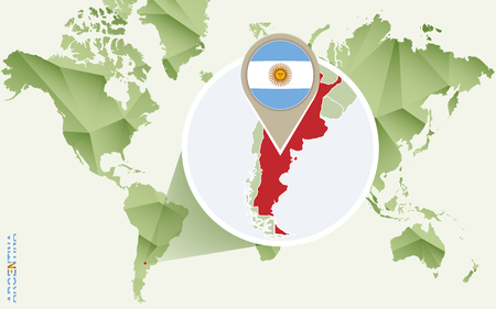 Illustration pour Infographic for Argentina, detailed map of Argentina with flag. Vector Info graphic green map. - image libre de droit