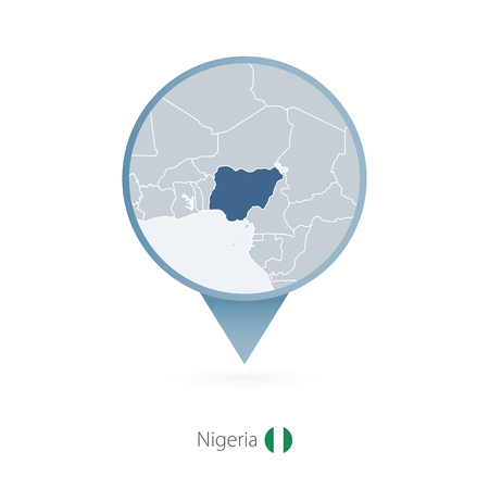 Illustration pour Map pin with detailed map of Nigeria and neighboring countries. - image libre de droit