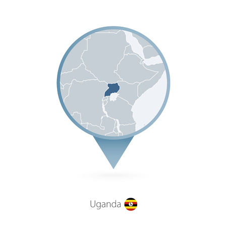 Illustration pour Map pin with detailed map of Uganda and neighboring countries. - image libre de droit