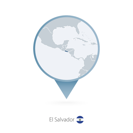 Illustration pour Map pin with detailed map of El Salvador and neighboring countries. Vector illustration. - image libre de droit