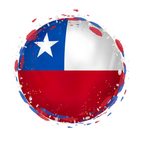 Illustration pour Round grunge flag of Chile with splashes in flag color. Vector illustration. - image libre de droit