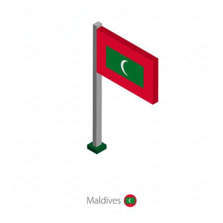 Illustration pour Maldives Flag on Flagpole in Isometric dimension. Isometric blue background. Vector illustration. - image libre de droit