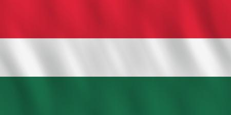 Ilustración de Hungary flag with waving effect, official proportion. - Imagen libre de derechos