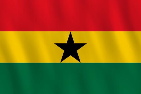 Ilustración de Ghana flag with waving effect, official proportion. - Imagen libre de derechos