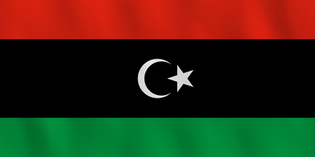 Ilustración de Libya flag with waving effect, official proportion. - Imagen libre de derechos