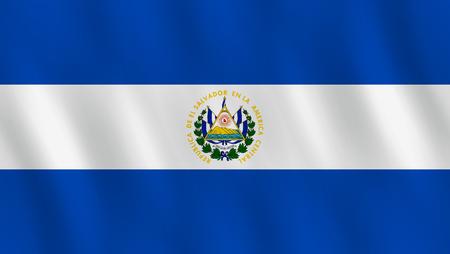Ilustración de El Salvador flag with waving effect, official proportion. - Imagen libre de derechos