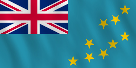 Ilustración de Tuvalu flag with waving effect, official proportion. - Imagen libre de derechos