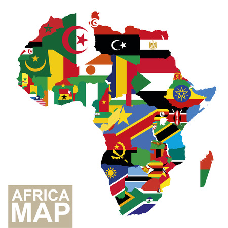 Illustration pour Africa map. Vector map of Africa with flags. African countries flag. Vector Illustration. - image libre de droit