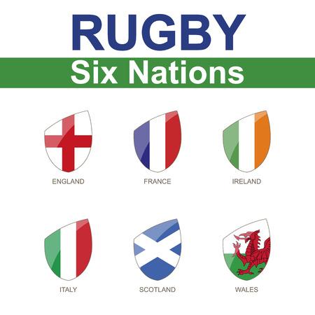 Illustration pour Rugby Six Nations Championship, 6 Flag - image libre de droit