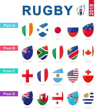 Ilustración de Rugby 2019, all pools and flag of rugby tournament. - Imagen libre de derechos